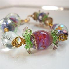 Handmade Lampwork  and Czech Glass Bracelet  by YourDailyJewels, $72.50
