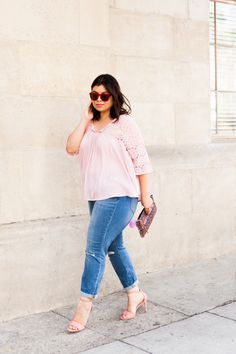 Curvy Style Inspiration: Jay Miranda is spring ready in light was denim and blush pink.