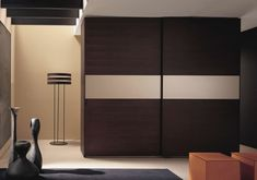 Furniture: Modern Wardrobe Armoire With Dark Color And Smoot Grey Accents At The Middle For Stylish Bedroom Furniture Ideas: Contemporary Wardrobe Armoire Design For Stylish People Bedroom Cupboard Designs, Bedroom Cupboards, Small Bedroom Designs, Sliding Wardrobe Designs, Wardrobe Design Bedroom, Bedroom Decor, Modern Wardrobe, Bedroom Furniture, Black Wardrobe