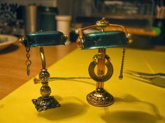 miniaturowe-domki: Lampa gabinetowa zielona skala 1:12 krok po kroku
