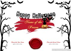 Happy Halloween Certificate Designer. #Free #halloween templates. You can add text, images, borders & backgrounds. Select images from our library or upload your own for a truly original certificate, #award, #poster or #screensaver. clevercertificates.com #kids #parenting #teachers