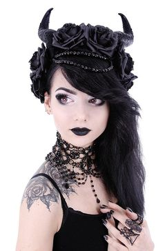 Gothic Dark Side Romance Evil Queen Horns and Black Roses Headband