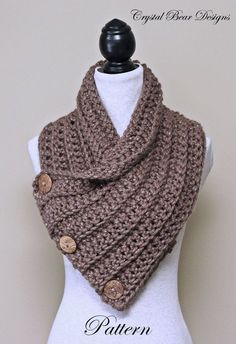 Chunky Crochet Cowl PATTERN, Scarf with Buttons, Neck Warmer, Easy Beginner Pattern, Made in Canada by CrystalBearDesigns on Etsy https://www.etsy.com/listing/213478613/chunky-crochet-cowl-pattern-scarf-with
