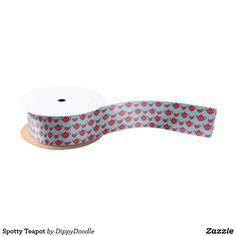 Spotty Teapot Satin Ribbon