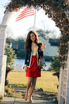 Classy Girls Wear Pearls: An American Girl {Interesting cardigan; looks like a blousy button down; Prep Style, My Style, Classy Girl, Classy Casual, 4th Of July Outfits, England Fashion, Down South, Red Skirts, School Fashion