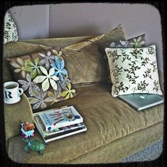 "My current haven. The couch in our ""classroom"" acts as a place of serenity for me. I am currently reading: ""Chicago, Then and Now"" by Elizabeth McNulty, an advanced copy of ""Wife 22"" by Melanie Gideon, and ""Desire to Inspire"" by Christine Mason Miller."