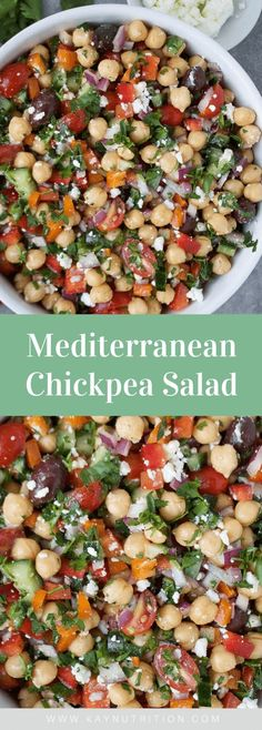 This healthy Mediterranean chickpea salad recipe is a quick and easy make-ahead meal that is filled with fibre and flavour. Winter Salad Recipes, Chickpea Salad Recipes, Bean Salad Recipes, Salad Recipes For Dinner, Dinner Salads, Healthy Salad Recipes, Healthy Salads For Dinner, Recipes With Chickpeas, Clean Eating Salads