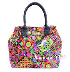 Indian Cotton Floral Design Gujrati Embroidery Shoulder Banjara Woman Boho Bag f #Namasteart #TotesShoppers