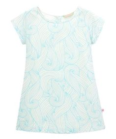 Look what I found on #zulily! White & Blue Wave Shift Dress - Infant, Toddler & Girls #zulilyfinds