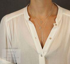Perfect Layering Necklace / Matte Silver STICK por LayeredAndLong