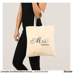 Lavender Scribbled Heart Future Mrs Tote Bag