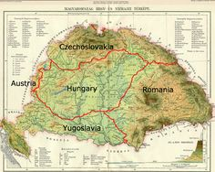 Post-Treaty of Trianon (1920) borders of greater Hungary. The Treaty annexed 71.4% of the territory of the Kingdom of Hungary (1867-1918) to the enlarged Kingdom of Romania and the newly founded states of Czechoslovakia, the Kingdom of Serbs, Croats and Slovenes (the future Yugoslavia) and the Republic of Austria. A total of 63.5% of the 20.9 million inhabitants of the Kingdom of Hungary resided in the territories annexed to these states via the treaty.