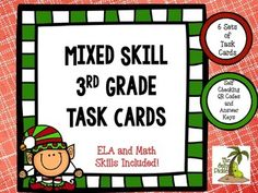 This great set of holiday task cards is perfect for review before the holidays.  The set includes 6 skill sets. 1. Regular and Irregular Verbs 2. Telling Time 3. Multiplication 4. ABC Order 5. Author's Purpose 6. Place Value Each set is self checking with QR codes or with Answer Key included.
