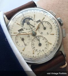 Vintage Watch Serviced Universal Geneve Tri Compax Vintage Moonphase - , Doctors Engravement on the Caseback, 35 mm diameter (w/o crown), Retro Watches, Vintage Watches For Men, Antique Watches, Fine Watches, Cool Watches, Wrist Watches, Moonphase Watch, Men Accesories, Accessories