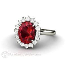 Oval Cut Ruby Engagement Ring with Diamond Cluster Halo or - Rare Earth Jewelry ruby jewelry Cluster Ruby Ring Oval Halo Engagement with Diamonds Halo Engagement Rings, Engagement Jewelry, Vintage Engagement Rings, Wedding Engagement, Ring Set, Ring Verlobung, Hand Ring, Diamond Cluster Ring, Halo Diamond