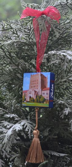 "$15 UNIVERSITY of TULSA Mini Canvas Ornament / by Marie Kash Weltzheimer at ArtistsHoliday ~ 9"" x 2"""