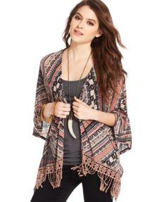 American Rag Fringed Printed Kimono | macys.com
