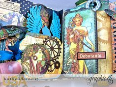 Mixed Media Steampunk Tag Album Tutorial  Steampunk Debutante  by Kathy Clement Product by Graphic 45  Photo 9