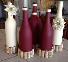 31 Beautiful Wine Bottles Centerpieces Perfect For Any Table (Bottle Centerpieces) Empty Wine Bottles, Wine Bottle Corks, Painted Wine Bottles, Diy Bottle, Wine Bottle Crafts, Decorative Wine Bottles, Bottle Vase, Glass Bottles, Gold Bottles