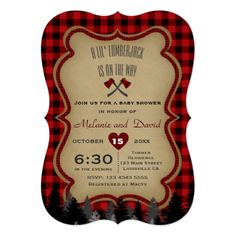 Red Buffalo Little Lumberjack Baby Shower Invite - red gifts color style cyo diy personalize unique