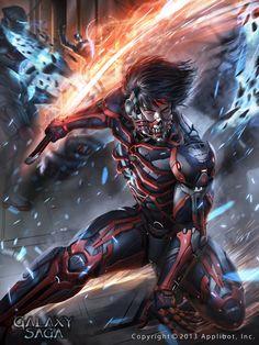 Art Collections - Galaxy Saga by Applibot фото) Dark Fantasy Art, Fantasy Armor, Arte Ninja, Ninja Art, Fantasy Character Design, Character Concept, Character Art, Arte Cyberpunk, Armor Concept