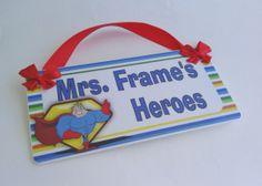 custom teacher super heroes themed classroom door by kasefazem, $16.99