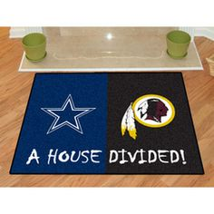 Dallas Cowboys/Washington Redskins House Divided All-Star Floor Mat Cowboys Vs Redskins, Redskins Fans, Nfl Dallas Cowboys, Nfl Football, Dallas Cowboys Pictures, House Divided, Nylon Carpet, Washington Redskins, One Team