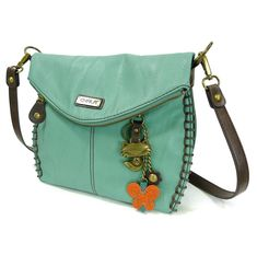 Chala Charming Crossbody Bag with Flap Top, Cross-Body or Shoulder Purse - Teal - Fox