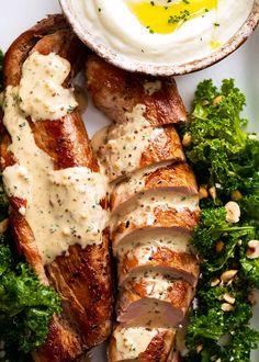 Sauce For Pork Tenderloin, Mustard Pork Tenderloin, Easy Pork Tenderloin Recipes, Pork Chops, Pork Tenderloin Side Dishes, Pork Recipes, Cooking Recipes, Pork Meals, Pork Tenerloin