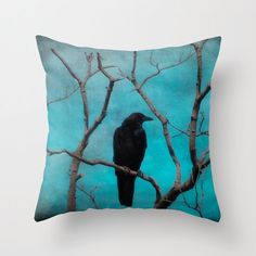 Blue Pillow Case, Nature Art Decor, Crow Pillow Cover, Blackbird Decor, Raven Art - Aqua Zen Pillow Cover by gothicrow on Etsy https://www.etsy.com/listing/166706666/blue-pillow-case-nature-art-decor-crow