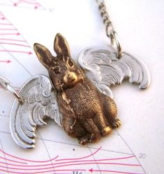 Flying Rabbit Necklace Gothic Victorian Steampunk Style Silver Wings Antiqued Brass Bunny Vintage Inspired. $28.00, via Etsy.