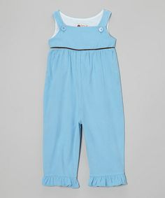Take a look at this Blue & Brown Ruffle Corduroy Overalls - Infant, Toddler & Girls by Smockadot Kids on #zulily today!