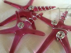 Pink Star Glass Ornaments