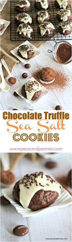 Chocolate Truffle Cookies with Sea Salt and Hershey Drops - Peas and Peonies #chocolatecookies #truffle #seasalt #chocolate