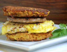 Sausage and Egg Sandwich on Sweet Potato Carrot Cakes by @MultiplyDelicious
