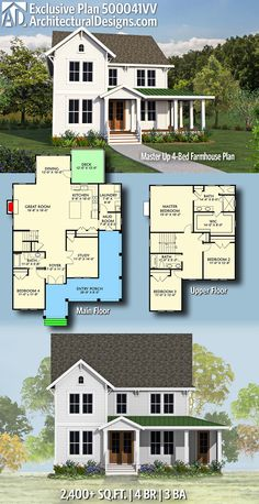 Architectural Designs Exclusive Modern Farmhouse House Plan 500041VV has 4 beds | 3 baths | 2,400+ square feet of heated living space. Ready when you are. Where do YOU want to build? #500041VV #adhouseplans #architecturaldesigns #houseplan #architecture #newhome #newconstruction #newhouse #homedesign #dreamhouse #homeplan #architecture #architect #houses #farmhouseliving #homedecor #kitchen #farmhouse #greatroom #modernfarmhouse #exclusivedesign #exclusive