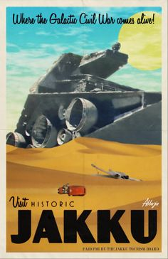 Star Wars: Jakku - The Force Awakens Travel Poster by Abbazia