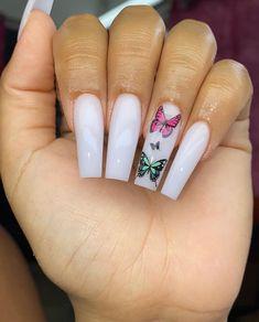 Acrylic Toes, Best Acrylic Nails, Acrylic Nail Designs, Acrylics, Butterfly Nail Designs, Cute Spring Nails, Aycrlic Nails, Stiletto Nails, Fire Nails