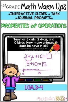 These 1st grade math warm ups can be used as math talk problem of the day, focused standards-based lessons,morning work, math centers, or exit tickets! This resource is strategically designed to support students in learning to understand and apply properties of operations and the relationship between addition and subtraction.  #firstgrademath #orderofoperations #firstgrade #mathtalk