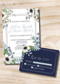 Rustic Anemone and Dusty Miller Greenery Wedding Invitation and RSVP Navy Gray Sage White Wedding Invitation and Response Card - Printable by PaperHeartCompany on Etsy
