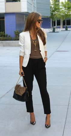 White blazer brown top and black cropped pants