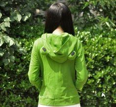 女性のためのコスプレカエルフード付きのスエットシャツ