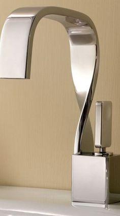 27 Unique Faucets   COCOCOZY Modern Bathroom Faucets, Kitchen Sink Faucets, Concrete Bathroom, White Bathrooms, Luxury Bathrooms, Master Bathrooms, Dream Bathrooms, Contemporary Bathrooms, Bathroom Chair