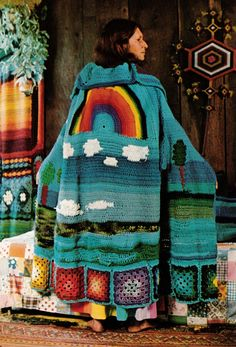 """""""Homage to Tomales Bay."""" Crocheted cape by Judith Weston. 1974"""