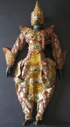 Garuda Burmese Puppet Mythological Bird. Garuda, the king of birds, he often acts as a messenger between man and God. Garuda has the body of a man and head, wings, talons and beak of an eagle. The Garuda is also popular in Indonesia and Hindu mythology.