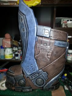 First try with EVA Foam #armor #boots #carmine #clayton #cosplay #costumes…
