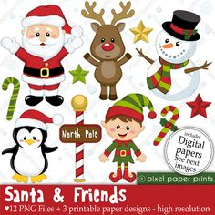 Christmas clipart - Santa and Friends - Clip art and Digital paper set by pixelpaperprints on Etsy https://www.etsy.com/uk/listing/83958978/christmas-clipart-santa-and-friends-clip