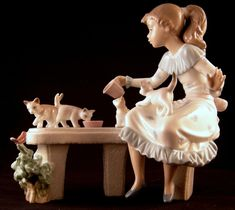 Lladro Meal Time Girl and Cats Porcelain Figurine with Box Retired Spain # 6109
