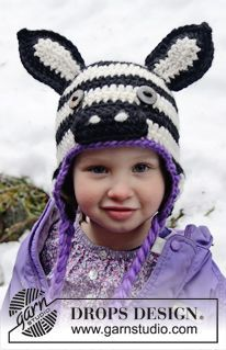"Crochet DROPS zebra hat with ear flaps in ""Eskimo"". Size 1-8 years ~ DROPS Design"