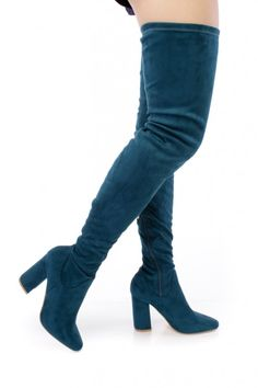 Peacock Pointy Toe Chunky Heel Thigh High Boots Faux Sueded